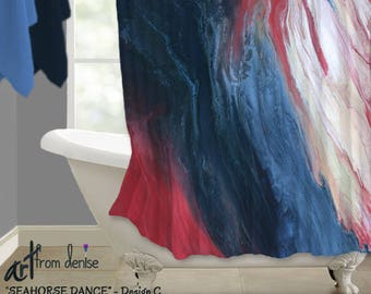 Red white blue, Coral navy bathroom decor, Shower curtain, Modern Contemporary, Abstract art, Designer bath decor, Bathroom