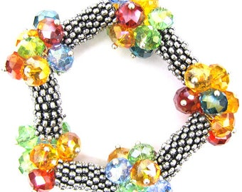 "Crystal silver plated daisy stretch bracelet 7""multi 11831"