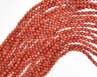"""3mm faceted red coral round beads 15.5"""" strand 38056"""