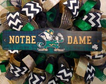 Notre Dame Wreath, Notre Dame Wreaths, Notre Dame, Notre Dame Decor, Fighting Irish wreath, Fighting Irish, Graduation