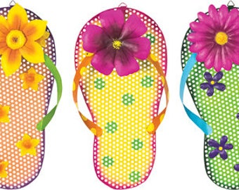 Flip flop sign, flip flop signs, flip flops, floral flip flops, wreath sign, wreath flip flops, Sandal sign, wreath Sandals, Sandal signs