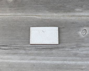 Leather Stacked Card Case // Distressed White Crackle
