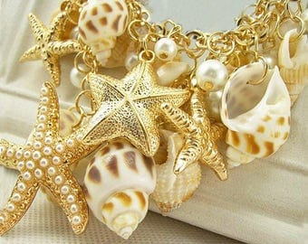 Seashell Necklace, Gold Seashell Necklace, Conch Shell Necklace, Starfish Pendant, Women's Gift, Teen, Beach Jewelry, Natural Shell Necklace