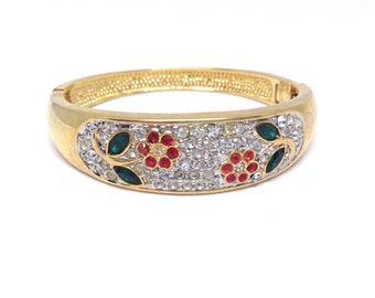 Tantalizing Rhinestones Colored Flower Gold Tone Estate Bracelet