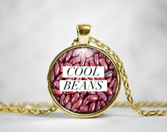"""Trendy Sayings Necklace - """"Cool Beans"""" Glass Pendant Necklace"""