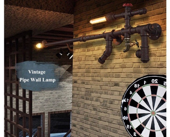 Rifle gun industrial rustic vintage pipe wall light fixture