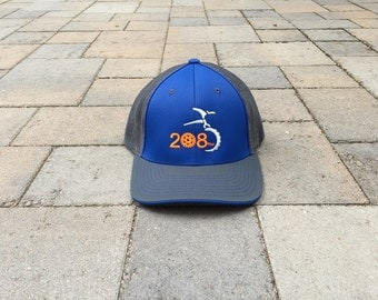 Area Code Art - 208 area code, Bike Trucker hat, Idaho Hat, Bike Gifts, Biking Gear, 208 Bike Hat