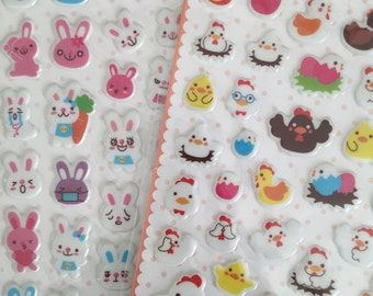 2 Stickers kawaii animal puffy (x 2) rabbit and hen