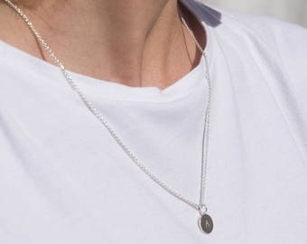 Tag necklace initials (length - 60 cm, material - silver)