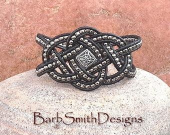 Black Silver Beaded Leather Wrap Cuff Bracelet - The Celtic Queen in Black - Custom Size It!