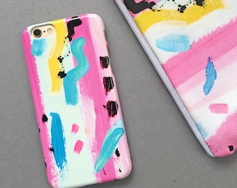 Unique Phone Case, Colourful Paint Strokes 'Jazzy' 80s iPhone and Samsung Phone Case, Pretty Colourful Phone Case
