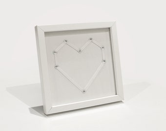 White Shoelace Heart with Customisable Text in Frame