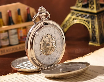 2 Sides Mechanical Analog Pocket Watch With Necklace Chain