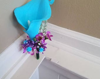 Teal Calla Lily boutonniere