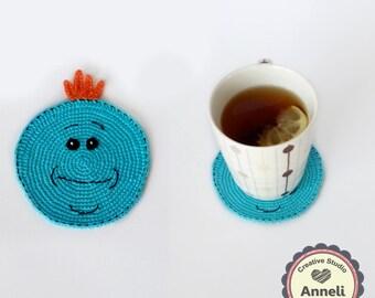 Rick and Morty Coasters / Coasters / Crochet Coasters / Home Decor/ Mr. Meeseeks Coasters / Funny Gift / Table Coaster / Mr. Meeseeks