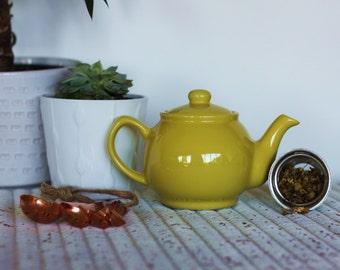 Infuser Teapot Gift Set, Yellow - Herbal Loose Leaf Tea teabelly Organic Artisan Tisane Infusion