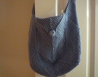 Blue cotton knitted bag