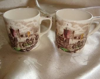 Pair of Colored Transferware Demitasse Coffee Cups ~ Made In England