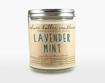 Lavender Mint Scented Candle - 8oz - Soy Candle, Container Candle, Relaxing Scented Candles, Calming Candle, Gift Idea, gift for women, gift