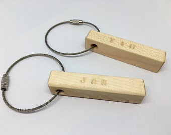 KEYCHAIN of maple with vanity name