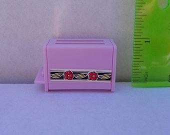 Vintage Barbie 1:6 scale 1/6 scale Pink Toaster , Miniature Diorama Kitchen Appliance , Mini Dollhouse , Barbie Accessory , Barbie Toaster