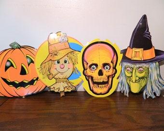 Vintage Beistle Halloween Decorations Set Of 4 Witch Pumpkin Scarecrow Skull