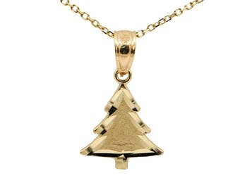 10k Yellow Gold Christmas Tree Necklace