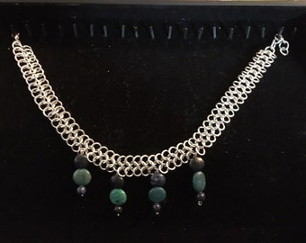 4/1 Chainmaille choker with Chrysocolla and Lapis beads