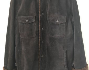 Stylish Mid Length Vintage Dark Brown Genuine Suede Coat Faux Fur Collar Men's Size Medium.