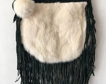 Real handmade crossbody bag from suede & fur with elements of fashionable suede fringe and fur bubo new women's dark green bag size-small.