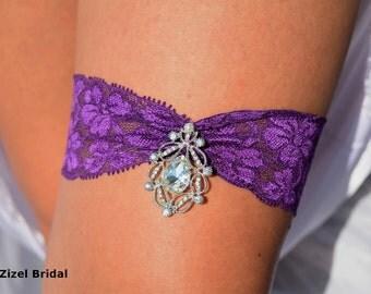Wedding Garter, Purple Garter, Wedding Garter Set, Garters, Purple Lace Garter, Rhinestone Garter, Keepsake Wedding Garters, Bridal Garter