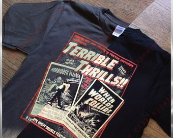 Rocky Horror Picture Show - Terrible Thrills!! A science fiction double feature 50's vintage style horror t shirt - nameless city apparel