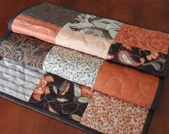 Peach Table Runner, Peach Brown Orange Table Runner, Plush, Handmade Table  Runner,