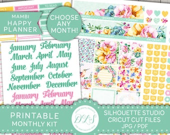 Happy Planner Monthly Kit, Happy Planner Monthly Stickers, Editable Planner Stickers, Printable Monthly Stickers, Cricut, Silhouette, HPE101