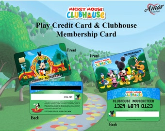 Mickey Mouse Clubhouse Play Credit Card and Clubhouse Membership Card; Mickey Printables, Party Printables