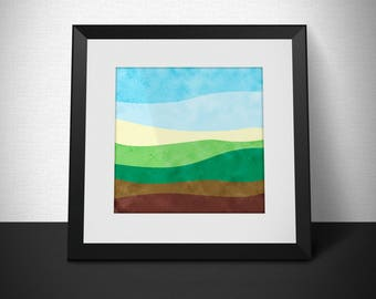 Abstract minimalist landscape | Instant digital download