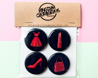 Retro Vintage Magnets Feminine 1940s Red Dress Lipstick Heels Pumps Purse Handmade Gift Set Magnets Magnet Andy Warhol Pop Culture Decor