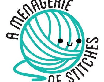 Custom logo stickers for A Menagerie of Stitches