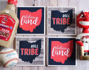Cleveland / Cleveland Indians Coasters / Cleveland Indians / Tribe / Believeland / The Land / Cleveland Gift / Ohio / Indians / Father's Day