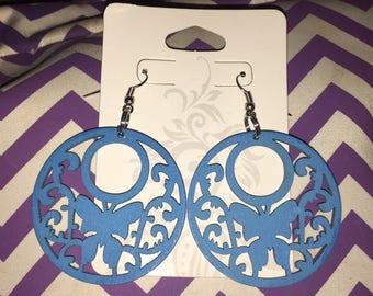 Blue Butterfly Wooden Earrings