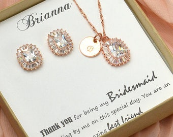 Bridesmaid gifts jewelry set Bridal Jewelry set square Crystal Wedding Jewelry Rose gold Bracelet  silver Gold Bridal Earrings  Jewelry set