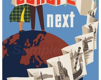 Vintage See Europe Next Travel Poster Print