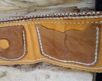 Leather wallet hand stitched - Jungle Leather - yellow and brown