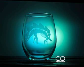 Stegosaurus Dinosaur - Wine Glass - Dinosaur Glass - Dino - Pint Glass - Fossil - Gift Ideas - Gifts