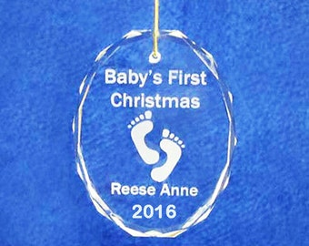 """3"""" crystal engraved personalized custom Babies First Christmas ornament FREE SHIPPING 2016"""