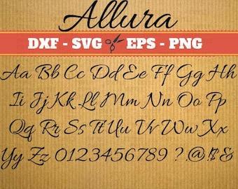 Allura Monogram Svg Font; Svg, Dxf, Eps, Png; Digital Monogram, Calligraphy Script, Cursive Svg Font, font svg, Cricut, vector files