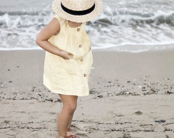Linen toddler girls dress in yellow with  button front opening , summer girls smock, baby pinafore dress, linen layering