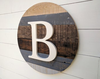 Single Letter Monogram, 3D Letter, Reclaimed Wood Round Circle, Personalized Gift, Barnwood personalized round