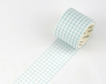 Retro Sky Blue Grids Wide Japanese Washi Tape, Masking Tape, Scrapbooking Stickers, Planner Stickers - WT328