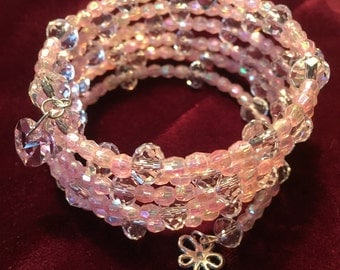 Pink and crystal memory wire bracelet with pink glass heart and Tibetan Silver flower charm